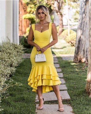 Vestido com babadinho yellow