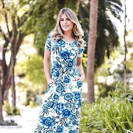 Vestido blue com manga curta e cordão