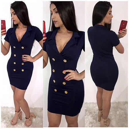 Vestido azul marinho com botões
