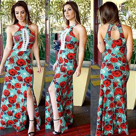 Vestido longo com fenda red