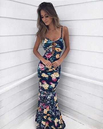Vestido resort estampa floral azul marinho