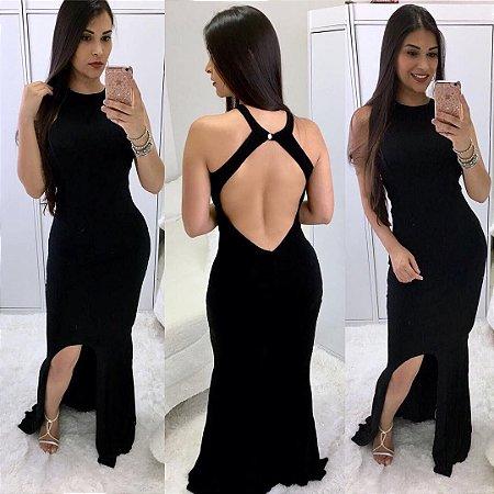 Vestido longo preto com decote costas