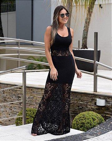Vestido sereia malha crepe rendando na cor preta