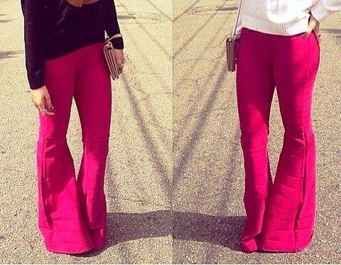 Calça bandagem acetinada flare pink