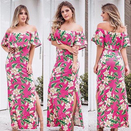 Vestido ciganinha estampa floral pink & freen