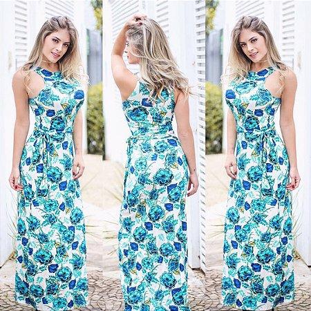 Vestido estampa flowers azul
