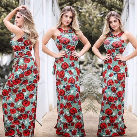 Vestido estampa flowers red