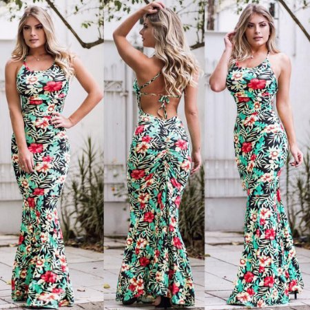 Vestido green estampa flowers