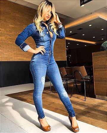 Macacão jeans skinny manga longa
