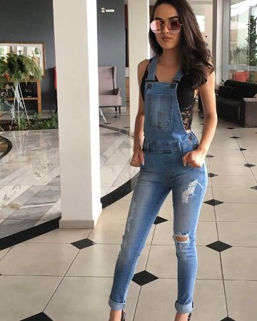 87d2411ff Macacão jeans skinny jardineira lavagem clara - Madame Ninna , loja ...