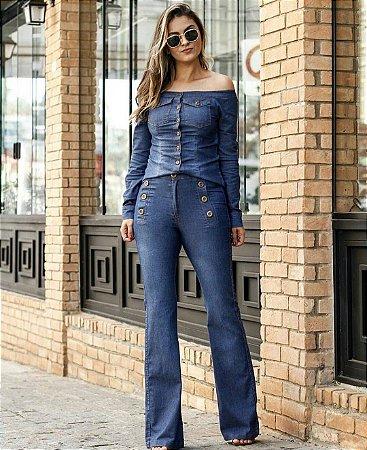 Blusa jeans manga longa