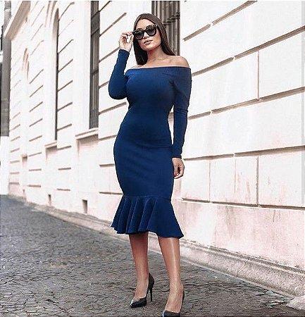 Vestido ombro a ombro sereia azul marinho