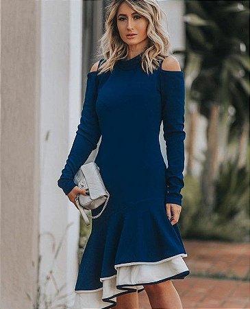 Vestido manga longa babados - Azul