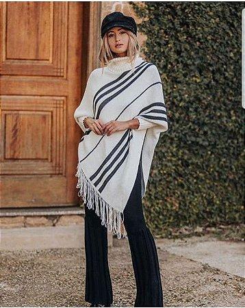 Poncho stripes com franjas
