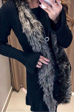 Casaco de tricot, com pêlinhos e manga flare