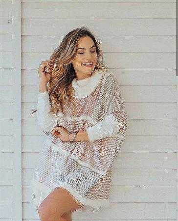 Poncho tricot flame - rosê