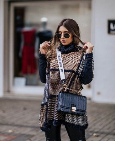 Poncho tricot flame - Tons de bege