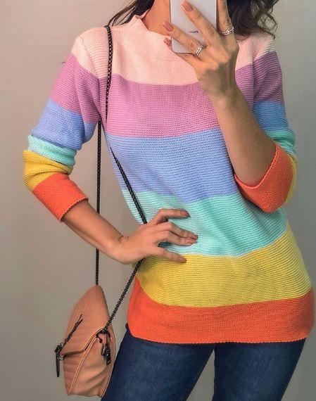 Suéter tricot Rainbow
