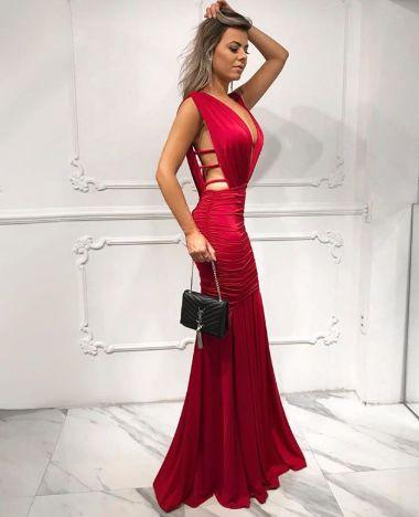 Vestido de festa Ana - Marsala