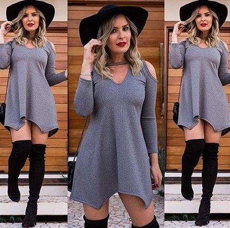 Mini vestido barra assimétrica - Cinza