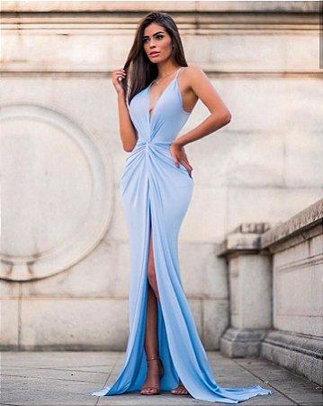 Vestido Penélope longo em jérsey acetinado - azul pastel