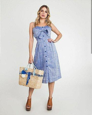 c2b8c1a07 Vestido midi em linho com detalhe no busto - azul - Madame Ninna ...