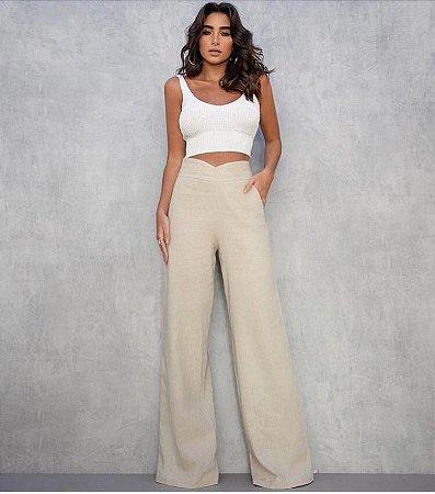 Calça pantalona de linho com detalhe em V - Crú - Madame Ninna ... 00853c63381