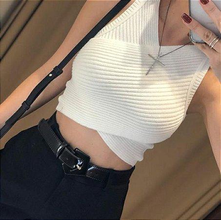 Cropped cruzado com elastano canelado - off white