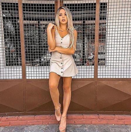 Conjuntinho cropped + saia de linho - Crú