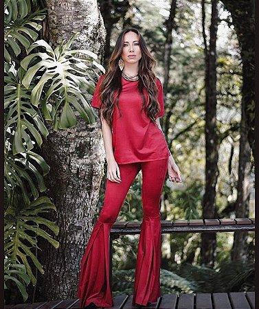 Conjunto em suede blusa e calça flare - vermelho