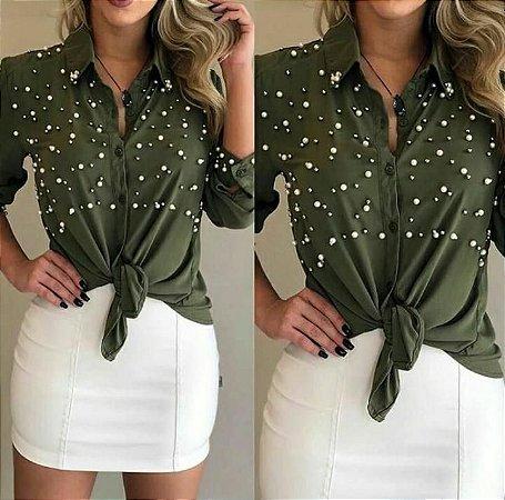 Camisa de pérolas - Verde militar