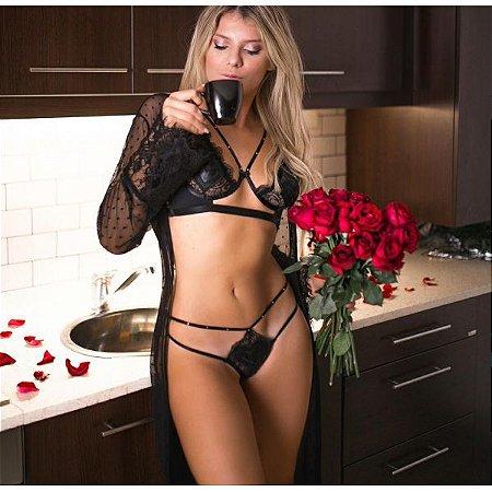 Conjunto lingerie preta Diamond in Love com sutiã meia taça sem bojo e  calcinha semi fio 353532d949a