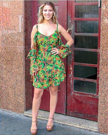 Vestido em viscose com estampa maravilhosa - Tropical