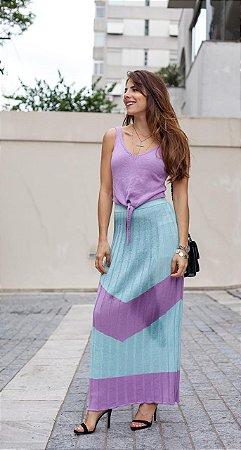 Conjunto de cropped nózinho com saia longa candy colors