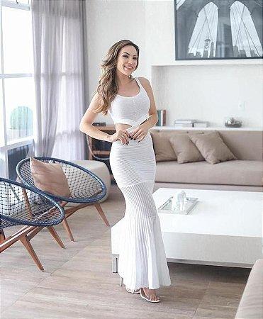 Vestido longo modal com lateral e costas abertas - Branco