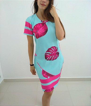 Vestido em neoprene estampa linda em azul e rosa