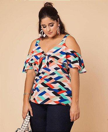 Blusa colors com ombro vazado - Plus