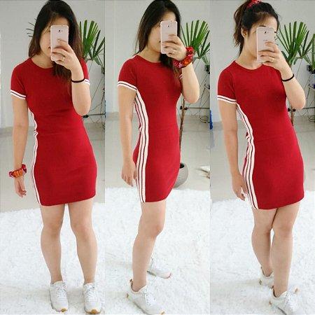 Vestido college - Vermelho escuro