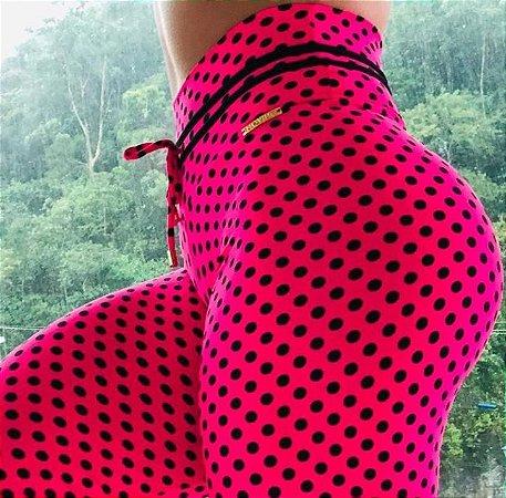 Calça legging fitness levanta bumbum pink com estampa poá - tamanho único