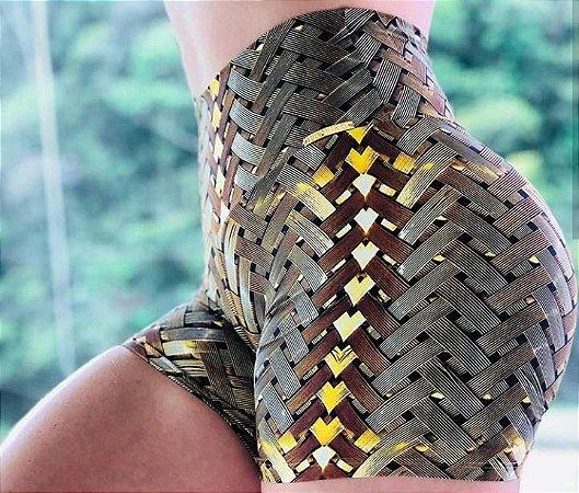 Shorts fitness levanta bum bum estampa IRON 3D - Tamanho único - Amarelo
