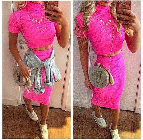 f4eecfa294e Conjunto em malha canelada - Rosa neon - Madame Ninna - Madame Ninna ...