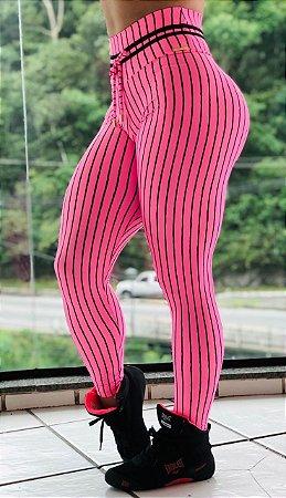 Calça legging fitness levanta bumbum estampa exclusiva listras rosa Barbie - Tamanho único