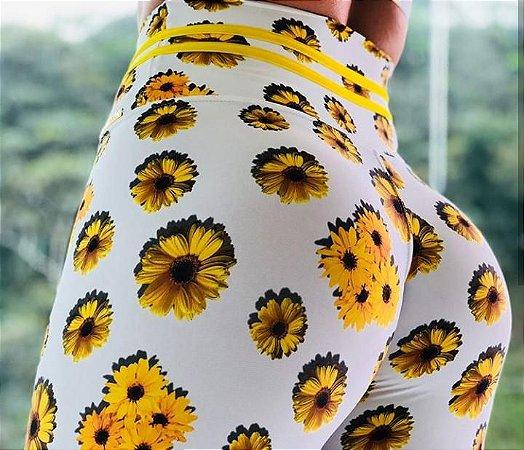 Calça legging fitness levanta bumbum estampa exclusiva girassóis - tamanho único