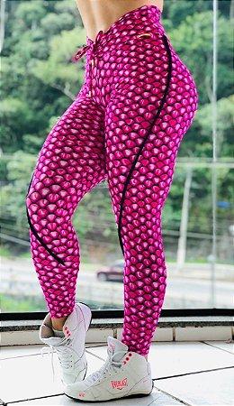 Calça legging fitness levanta bumbum estampa pink 3D - tamanho único