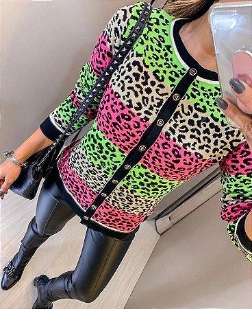 Cardigan em modal Animal print colors