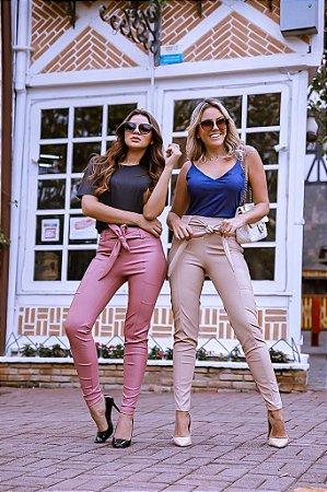 Calça skinny em couro eco com faixa na cintura - Rosa