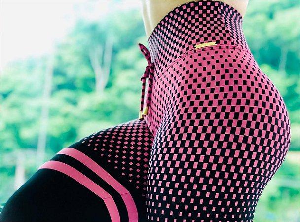 Calça legging fitness estampa ilusion - Rosa e preto