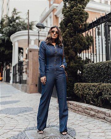 Macacão longo em jeans fino com elastano