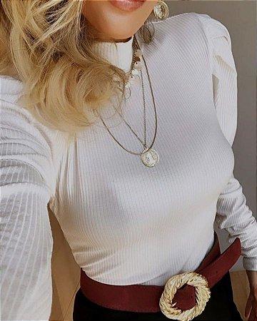 Blusa em malha canelada com manga princesa - Off white