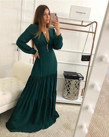 Vestido longo Thássia - Verde esmeralda